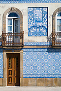 Typical azulejos blue and white tiles in Aveiro, Portugal