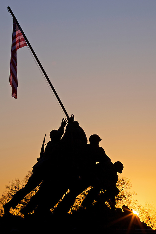 The Iwo Jima Memorial honors the men and women in the U.S. Marine Corps who have given their lives to their country. President Kennedy issued a proclamation that a U.S. flag should fly from the memorial 24 hours a day, one of the few official sites where this is required.
