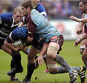 Bath, West Somerset, UK., 23 October 2004,  Heineken Cup - Bath Rugby v Bourgoin, The Recreational Ground, The  Rec.,<br /> [Mandatory Credit: Peter Spurrier/Intersport Images],<br /> Bourgoin lock Pascal Pape gets to grips with Bath's Matt Stevens