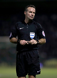 Match referee Paul Tierney during the Emirates FA Cup, fourth round match at Huish Park, Yeovil.