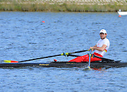 Reading. United Kingdom.  GBR LM1X, Stuart HEAP, in the opening strokes of the morning time trial. 2014 Senior GB Rowing Trails, Redgrave and Pinsent Rowing Lake. Caversham.<br /> <br /> 10:15:40  Saturday  19/04/2014<br /> <br />  [Mandatory Credit: Peter Spurrier/Intersport<br /> Images]