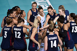 JIANGMEN, June 5, 2018  Players of the United States cheer before the match against Russia at FIVB Volleyball Nations League 2018 in Jiangmen City, south China's Guangdong Province, June 5, 2018. Team USA won the match 3-0. (Credit Image: © Liang Xu/Xinhua via ZUMA Wire)