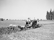 9969-2958. Discing a field on the Hagg farm, Fred Meyers doing the work. April 30, 1937. Reedville, Washington County, Oregon