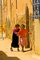 Girls playing in the street, Djerba Island, Tunisia