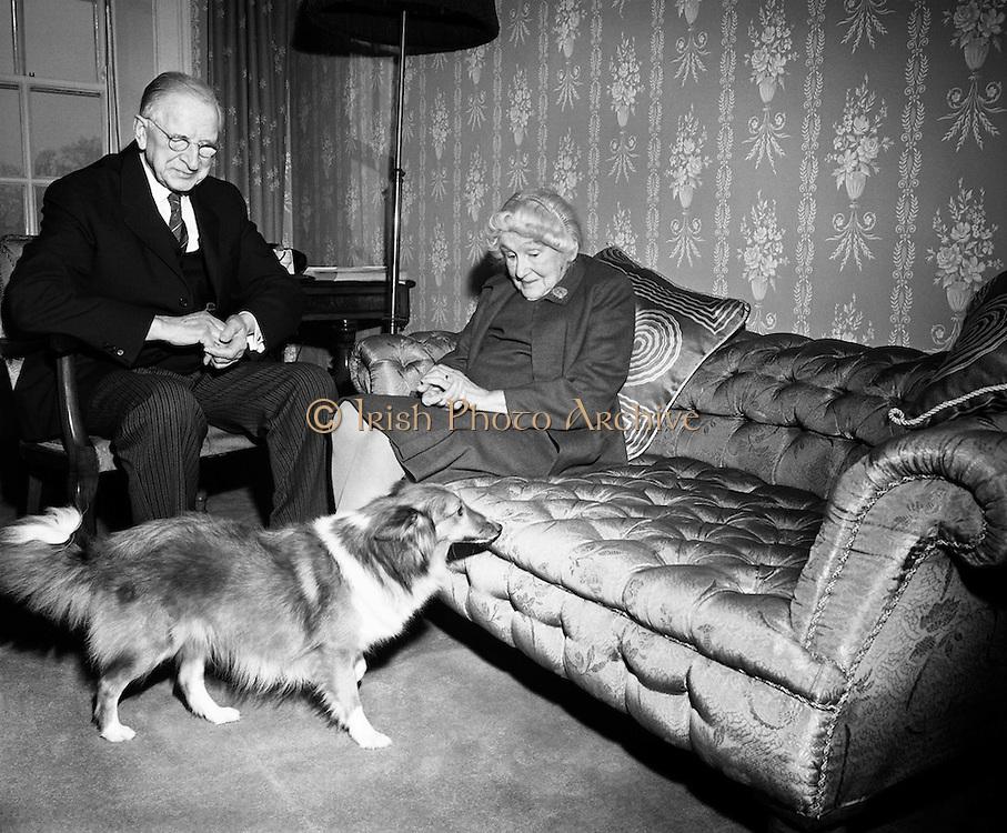 President  Éamon de Valera and  Bean Sinead de Valera's 50th wedding Anniversary.<br /> <br /> 7th January 1970<br /> <br /> 07/01/1970