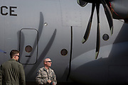 US Airforce personnel and their C-130 Hercules at the Farnborough Airshow, on 16th July 2018, in Farnborough, England.