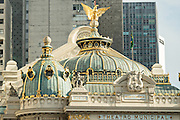 The dome and eagle decoration on the roof of the Municipal Theatre on Cinelandia Square in Rio de Janeiro, Brazil.