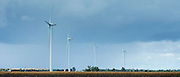 Wind turbines in the landscape  at Vix, in Pays de La Loire, France