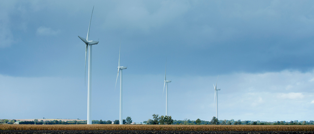 Wind turbines in the landscape  at Vix, in Pays de La Loire, France