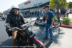 Jerry Wieland arrives at the final checkpoint before the finish on his 1925 Harley Davidson JD with his wife Debi during Stage 16 (142 miles) of the Motorcycle Cannonball Cross-Country Endurance Run, which on this day ran from Yakima to Tacoma, WA, USA. Sunday, September 21, 2014.  Photography ©2014 Michael Lichter.