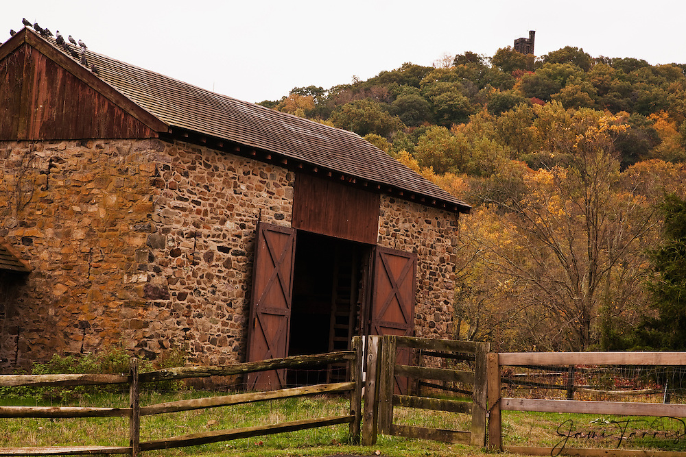 An old stone barn sits in front of Bowman's Hill Tower sitting on top of Bowman's hill covered with trees in fall foliage , New Hope, Pennsylvania, USA