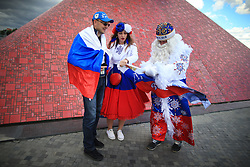 21st June 2017 - FIFA Confederations Cup (Group A) - Russia v Portugal - Russian fans arrange a flag before having their photo taken - Photo: Simon Stacpoole / Offside.