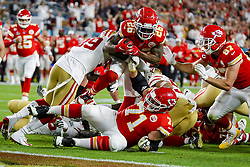 February 2, 2020, Miami Gardens, FL, USA: Kansas City Chiefs running back Damien Williams (26) carries the ball at the goalline against the San Francisco 49ers during the first half of Super Bowl LIV at Hard Rock Stadium in Miami Gardens, Fla., on Sunday, Feb. 2, 2020. (Credit Image: © TNS via ZUMA Wire)