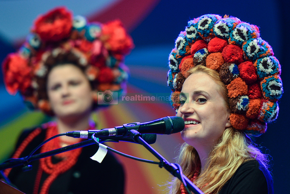 July 21, 2017 - Rzeszow, Poland - (L-R) Dagmara Gregorowicz (vocals, electronics) and Dana Winnycka (vocal, piano) from Dagadana, a Polish-Ukrainian folk music group that blends various music genres, during a concert on the opening day of the 17th edition of World Festival of Polish Diaspora Folkloric Groups. .On Friday, July 21, 2017, in Rzeszow, Poland. (Credit Image: © Artur Widak/NurPhoto via ZUMA Press)