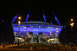 November 23, 2017 - Saint-Petersburg, Russia - Of The Russian Federation. Saint-Petersburg. Arena Saint-Petersburg. Zenit-arena. Football match of the UEFA Europa League, group stage: Zenit - FK Vardar. The player of football club. audience; fans; fans; (Credit Image: © Russian Look via ZUMA Wire)