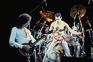 LOS ANGELES, CA - SEPTEMBER 15: Brian May and Freddie Mercury of Queen in concert at The Forum on September 15, 1982 in Los Angeles, California.