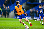 Chelsea defender Marcos Alonso (3) warms up before the The FA Cup match between Chelsea and Manchester United at Stamford Bridge, London, England on 18 February 2019.