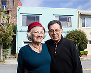 Commercial advertising photographer Raymond Rudolph photographs an elderly couple in San Francisco, California