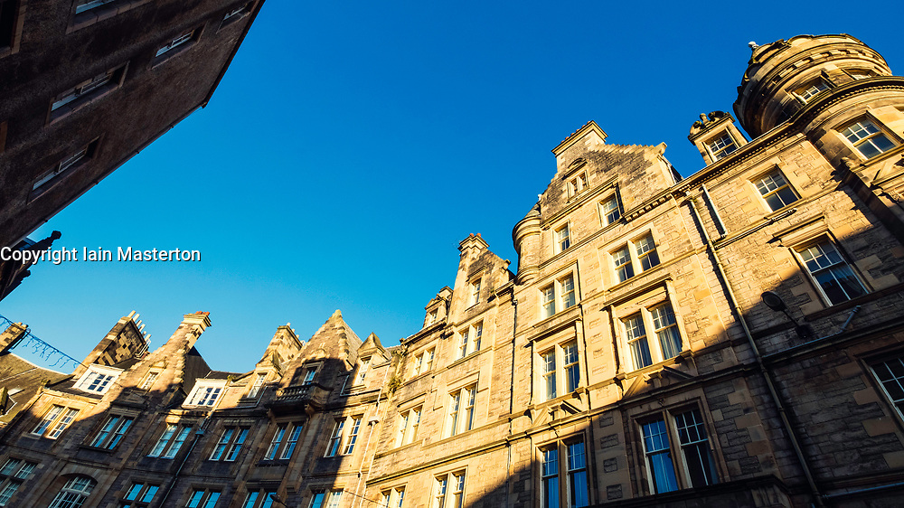 Old tenement buildings on Cockburn Street in Edinburgh Old Town, Scotland, United Kingdom