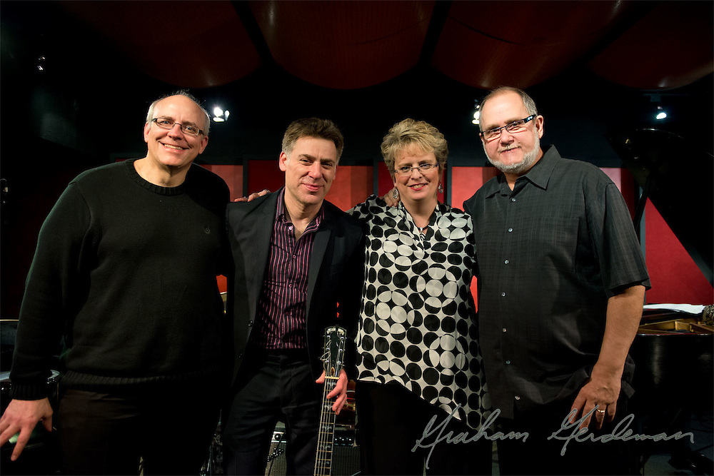 Peter Bernstein with the Lori Mechem Trio - Chris Brown (far left, drums), Lori Mechem (piano), and Roger Spencer (far right, bass).