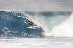 December 8, 2017 - Oahu, Hawaii, U.S. - - Isaiah Moniz of Hawaii placed third in Heat 1 of Round One of the Quarter Finals of the Pipe Invitational at Pipe, Oahu. (Credit Image: © WSL via ZUMA Wire/ZUMAPRESS.com)