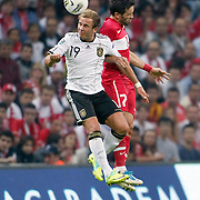 Turkey's Gokhan GONUL (L) and Germany's Mario GOTZE (R) during their UEFA EURO 2012 Qualifying round Group A matchday 19 soccer match Turkey betwen Germany at TT Arena in Istanbul October 7, 2011. Photo by TURKPIX