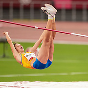 TOKYO, JAPAN August 7:    Yaroslava Mahuchiky of the Ukraine during her fist attempt at 2.04m in the high jump final for women during the Track and Field competition at the Olympic Stadium  at the Tokyo 2020 Summer Olympic Games on August 7th, 2021 in Tokyo, Japan. (Photo by Tim Clayton/Corbis via Getty Images) goes clear