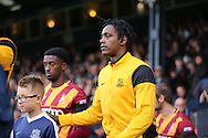 Southend United striker Nile Ranger (50) with mascot during the EFL Sky Bet League 1 match between Southend United and Bradford City at Roots Hall, Southend, England on 19 November 2016. Photo by Matthew Redman.
