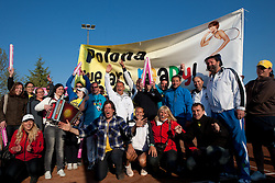 Fans of Polona Hercog with Polona and her coach Martin Vilar celebrate after Slovenia defeated Canada 3-2 during the second day of the tennis Fed Cup match between Slovenia and Canada at Bonifika, on April 17, 2011 in Koper, Slovenia.  (Photo by Vid Ponikvar / Sportida)