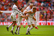 Goal AFC Flyde forward Danny Rowe (9) scores a goal from a free kick and celebrates 1-0 during the FA Trophy final match between AFC Flyde and Leyton Orient at Wembley Stadium on 19 May 2019.