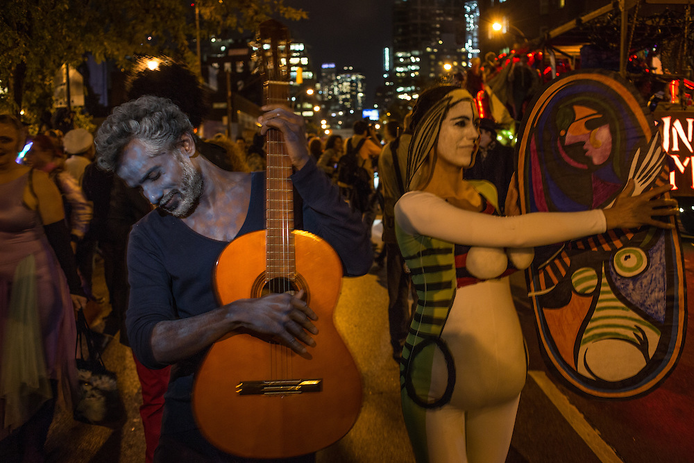 New York, NY, October 31, 2013. A couple costumed as Picasso paintings in the Greenwich Village Halloween Parade.