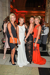 Left to right, OLIVIA BENTLEY, TAFFANY WATSON, GEORGIE JOHNSON and FRANKIE GAFF at the Revlon Choose Love Masquerade Ball held at the V&A Museum, Cromwell Road, London on 21st July 2016.