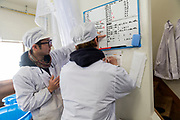 Staff check distilling notes at the Nekka Shochu Distillery, Tadami, Fukushima, Japan, February 20, 2018. The Nekka shochu distillery was founded in July 2016 and at that time was the smallest shochu distillery in Japan. It makes shochu from locally-grown rice, and is helping support a local economy that has languished since the nuclear disaster of 2011.