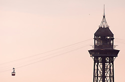 Silhouette able car sunset tower Teleferic
