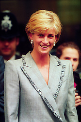 Princess Diana visiting St Mary's Hospital. Half Length.