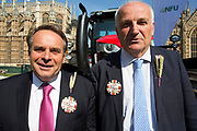Farmers at the National Farmers Union NFU took machinery, produce, farmers and staff to Westminster to encourage Members of Parliament to back British farming, post Brexit on 14th September 2016 in London, United Kingdom. MPs were encouraged to sign the NFU's pledge and wear a British wheat and wool pin badge to show their support.