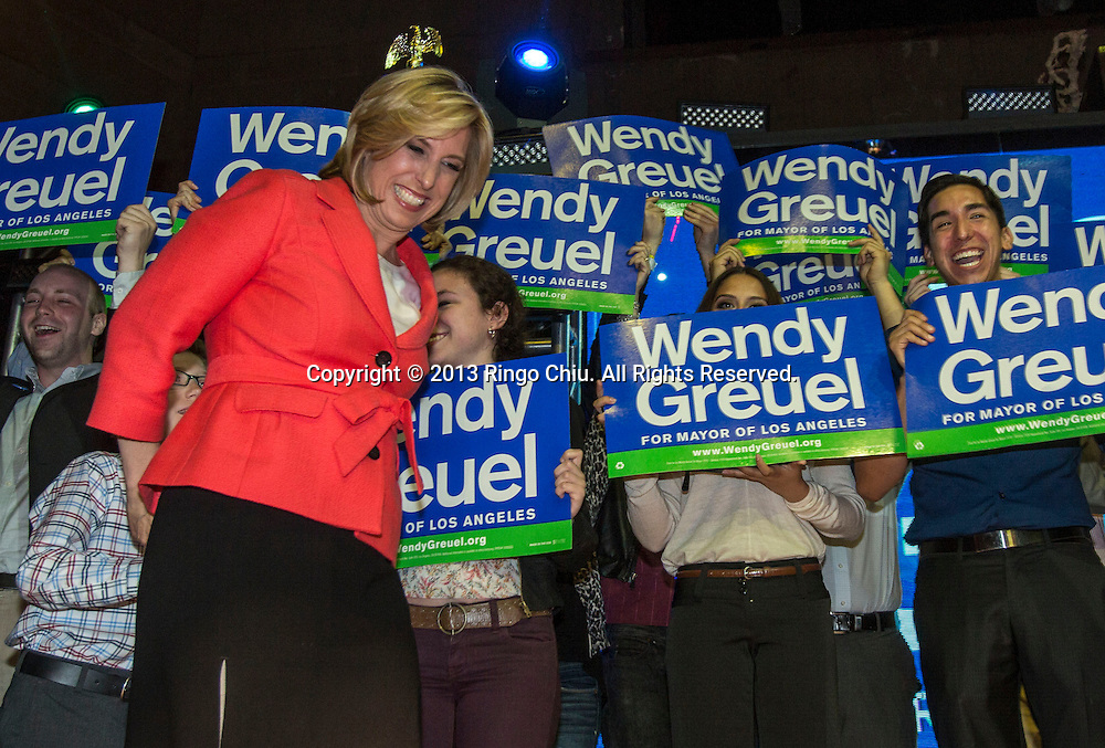 Los Angeles mayoral candidate Wendy Greuel, greets with the supporters at an election night party in Los Angeles, Tuesday, May 21, 2013. Greuel faced Eric Garcetti in a mayoral runoff.  (Photo by Ringo Chiu/PHOTOFORMULA.com).