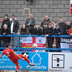 TELFORD COPYRIGHT MIKE SHERIDAN  Darlington fans watch on during the Vanarama Conference North fixture between AFC Telford United and Darlington at The New Bucks Head on Saturday, March 7, 2020.<br /> <br /> Picture credit: Mike Sheridan/Ultrapress<br /> <br /> MS201920-049