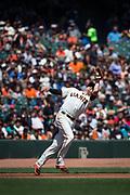 San Francisco Giants third baseman Ryder Jones (63) catches a pop fly against the Arizona Diamondbacks at AT&T Park in San Francisco, California, on August 6, 2017. (Stan Olszewski/Special to S.F. Examiner)
