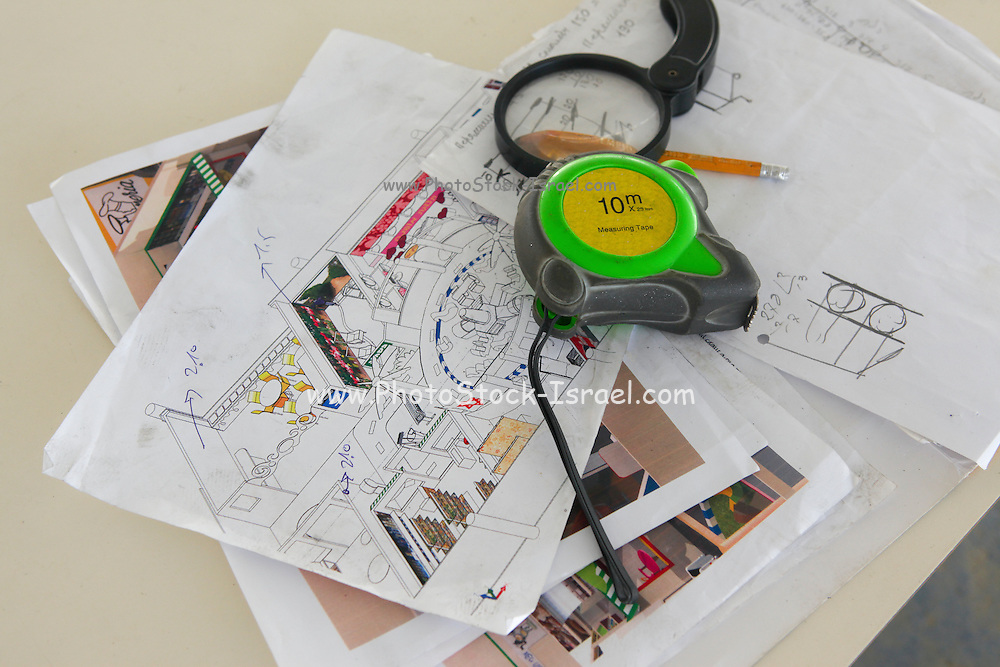 Interior Design Concept. Tape measure and plans