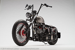 """""""Devil's Tuxedo"""", a black custom softail built by James Trudeau of Castle Rock, CO and Elite V-Twin. Photographed by Michael Lichter in Boulder, CO on 3/29/18. ©2018 Michael Lichter."""
