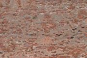 Palais des Rois de Majorque, Palace of the Majorca Kings. Brick wall. Perpignan, Roussillon, France.