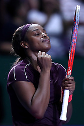October 27, 2018 - Singapore - Sloane Stephens of the United States celebrates her win during the semi final match between Sloane Stephens and Karolina Pliskova on day 7 of the WTA Finals at the Singapore Indoor Stadium. (Credit Image: © Paul Miller/ZUMA Wire)