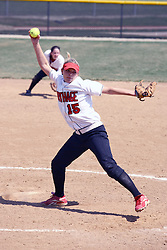 05 April 2008: Kelsey Epping pitches. The Carthage College Lady Reds lost the first game of this double header to the Titans of Illinois Wesleyan 4-1 at Illinois Wesleyan in Bloomington, IL
