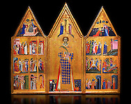 Gothic painted Panel Altarpiece of Saint Vincent by  Master of Estopanya. Tempera and gold leaf on wood. Circa 1350-1370. 199 x 255 x 10 cm. Comes from Estopanyà (Baixa Ribagorça, Huesca).. National Museum of Catalan Art, Barcelona, Spain, inv no: 003940-CJT .<br /> <br /> If you prefer you can also buy from our ALAMY PHOTO LIBRARY  Collection visit : https://www.alamy.com/portfolio/paul-williams-funkystock/gothic-art-antiquities.html  Type -     MANAC    - into the LOWER SEARCH WITHIN GALLERY box. Refine search by adding background colour, place, museum etc<br /> <br /> Visit our MEDIEVAL GOTHIC ART PHOTO COLLECTIONS for more   photos  to download or buy as prints https://funkystock.photoshelter.com/gallery-collection/Medieval-Gothic-Art-Antiquities-Historic-Sites-Pictures-Images-of/C0000gZ8POl_DCqE