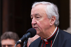 Hundreds of Christians in London take part in the interdenominational Methodist, Anglican and Catholic March of Witness in Westminster. PICTURED: The Archbishop of Westminster Cardinal Vincent Nichols addresses the gathering.