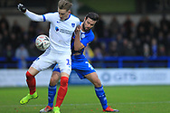 Ronan Curtis and Joe Rafferty during the The FA Cup 2nd round match between Rochdale and Portsmouth at Spotland, Rochdale, England on 2 December 2018.