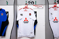 Richard Capstick of England U20 shirt hung up - Mandatory by-line: Robbie Stephenson/JMP - 15/03/2019 - RUGBY - Franklin's Gardens - Northampton, England - England U20 v Scotland U20 - Six Nations U20