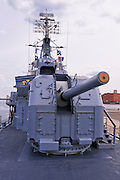 "5"" air/surface gun on the USS Cassin Young (National Historic Landmark), Charlestown Navy Yard, Boston, Massachusetts"