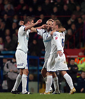 Photo: Kevin Poolman.<br />Crystal Palace v Colchester United. Coca Cola Championship. 09/12/2006. Colchester captain Karl Duguid (middle) celebrates his goal with Greg Halford Kevin Watson.